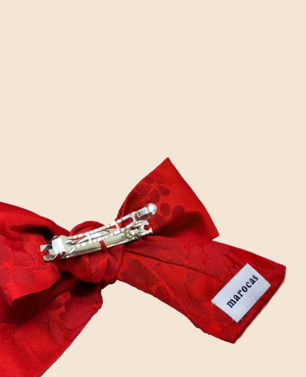Lazo en damasco de seda rojo