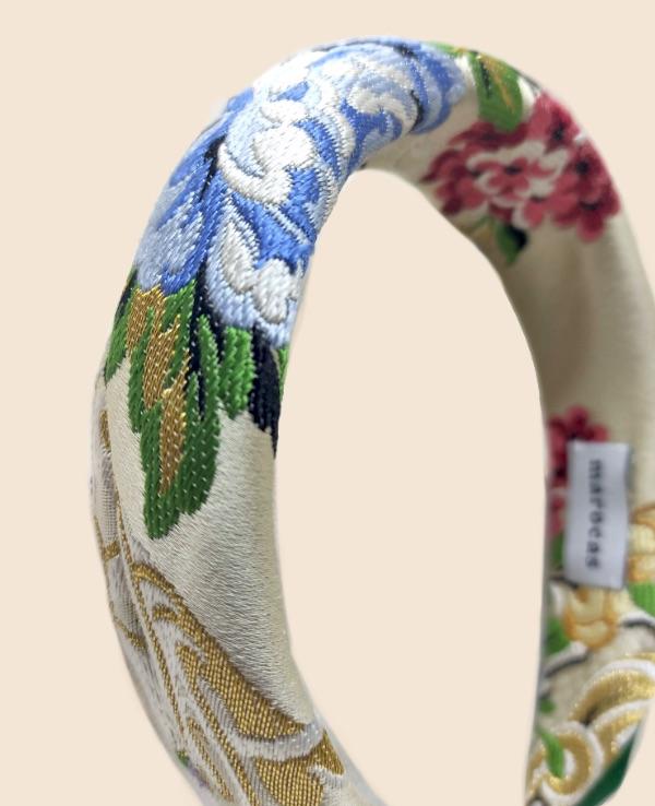 Diadema seda blanco roto