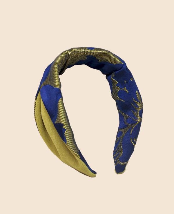 Diadema rayón azul klein combinada con pistacho